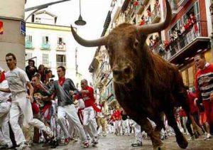 Традиции Испании: Бега быков по улицам городов.