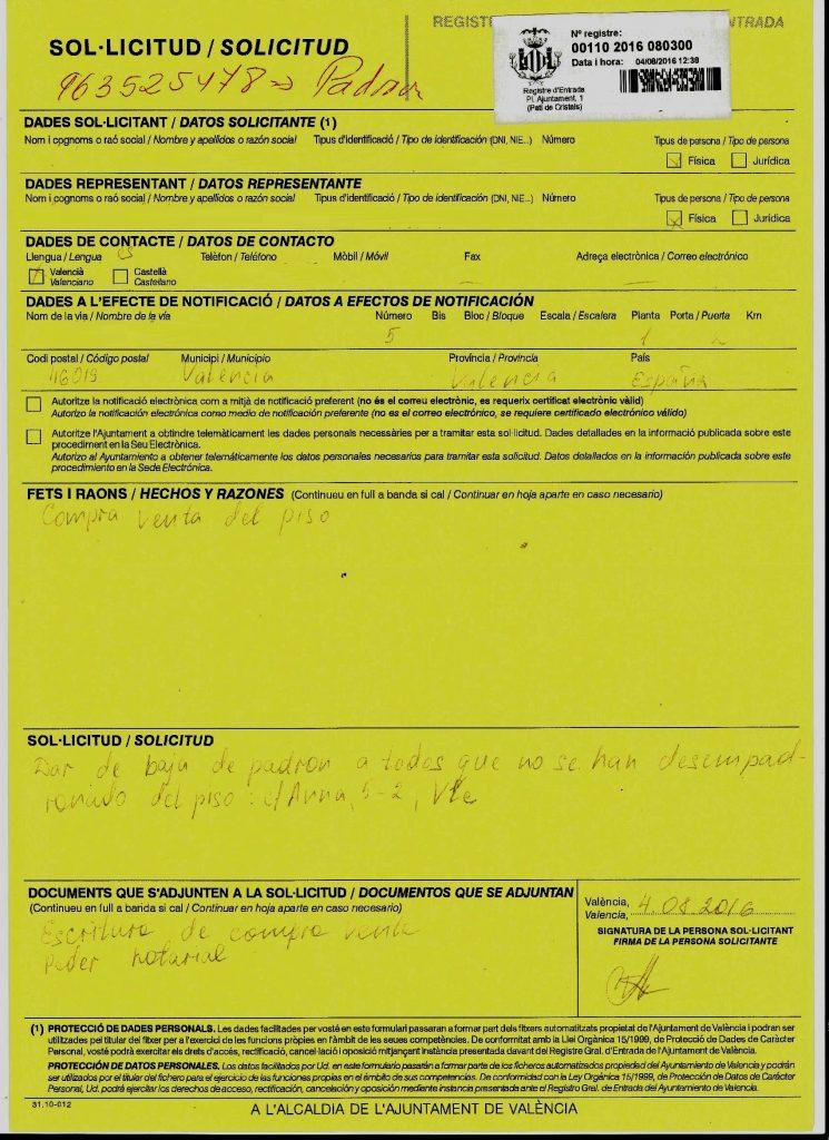 Снятие с регистрации по месту жительства/пребывания в Валенсии.